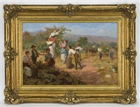 figures harvesting grapes by cleto luzzi