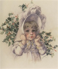 litlle girl in bonnet amidst holly branches by maud humphrey