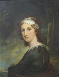 portrait of a lady (mrs. browne murphy?) in an olive green dress with white lace collar, and red wrap, wearing a white bandeau, a wood landscape beyond by joseph wright (of derby)