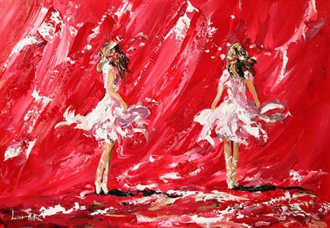 dancers on red by lorna miller