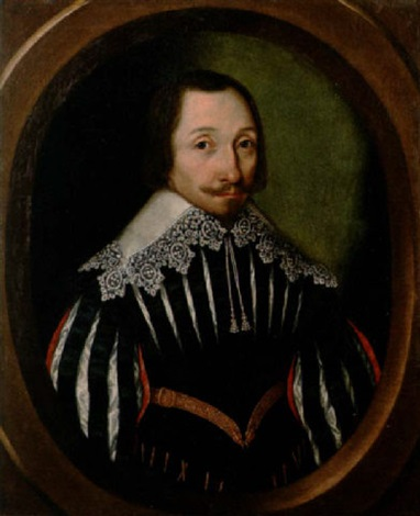 portrait of a bearded gentleman in a red lined black slashed doublet with a white lace collar by gilbert jackson
