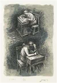 girl seated at desk ix (c. 386) by henry moore