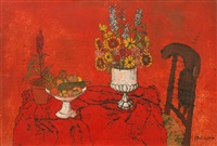 still life with red background by frederick arthur jessup