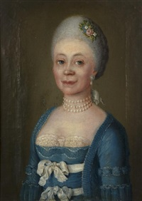 portrait en buste d'une femme de qualité dite madame buffon by joh. ludwig weber
