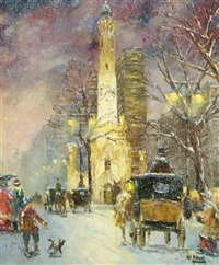 chicago water tower in winter by robert lebron
