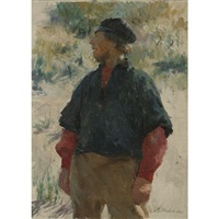 fisherman in the dunes by gari melchers