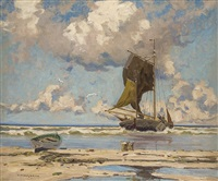 fishing boats at the beach by otto ackermann