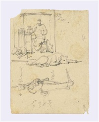 studies of a chinese stall holder and his dog, and a soldier; feet; a hand holding a coin; and a helmet from a suit of armour (4 works) by george chinnery