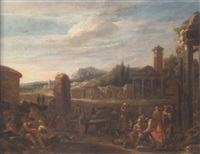 an italianate landscape with a fruitseller, travellers and peasants by a fountain, a church with a classical temple front and mountains beyond by dirk helmbreker