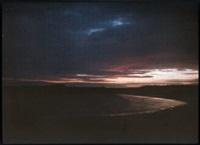 divers: coucher de soleil dans une baie (+ paysage; 2 works) by jules gervais courtellement