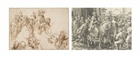 a sheet with studies after engravings by lucas van leyden and albrecht dürer by jacques de gheyn ii
