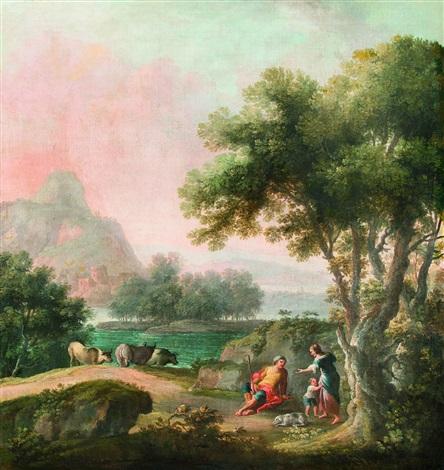 paesaggio fluviale con pastori a riposo e armenti by carlo bonavia
