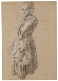 a young girl (study) (+ a seated man, verso) by francesco londonio