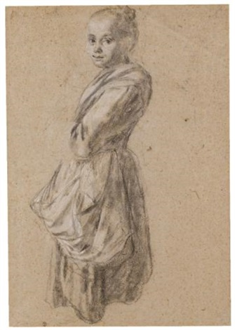 a young girl study a seated man verso by francesco londonio