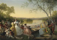 reminiscences of lake mahopac -- ladies preparing for a boat race by louis lang