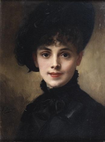 Au Artnet Noir By Gustave Jean Portrait Jacquet On Femme Chapeau De EDIH29