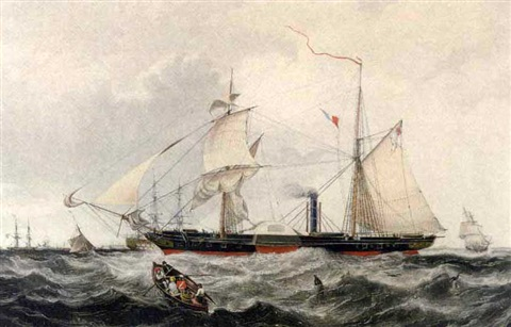 "steam frigate ""cyclops"" by (publisher) rudolph ackermann"