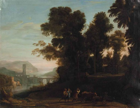 a river landscape with travelers and shephards on a path by claude lorrain
