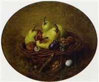 mandje met vruchten waarbij een vlinder en een tor by hendrik jan (hans) van wyk