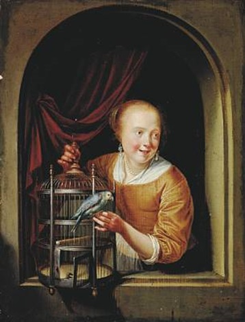 young girl with a birds cage at a window by pieter cornelisz van slingeland