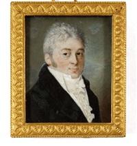 portrait d'homme à la redingote grise et jabot de dentelle by louis marie autissier