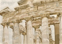 temple at paestum by philip pearlstein