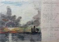 étude de ciel, voilier sur la mer soleil couchant by amédée ozenfant