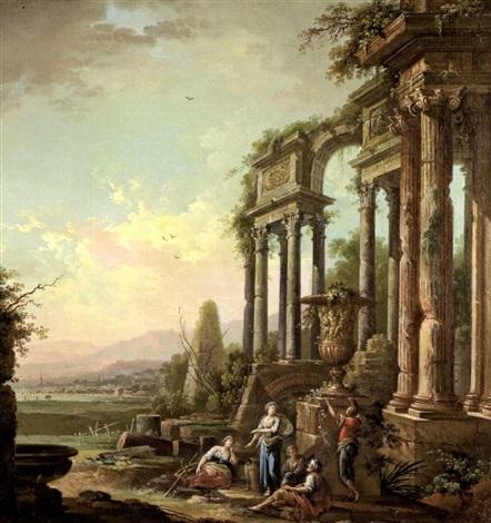 le repos des bergers près de ruines antiques by jean baptiste charles claudot