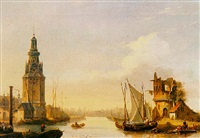 sailing vessels in a harbour near a ruin by françois jean louis boulanger