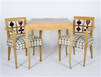 arm chairs and matching bridge table (set of 4) by jules leleu