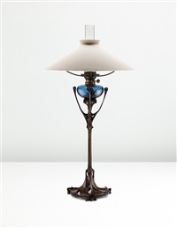 rare table lamp (from the maison coilliot, lille) by hector guimard