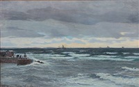 the coast at mölle, sweden, in the background zealand's coast by vilhelm karl ferdinand arnesen