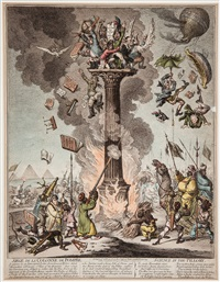 siege de la colonne de pompée, science in the pillory by james gillray