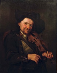 a boorish man playing the violin by petrus staverenus