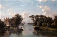 hollands landschap met boerderij aan een vaart by johannes joseph destree