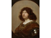 portrait of gentleman, bust-length, in armour, within a painted oval by salomon koninck