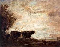 twee koeien in polderlandschap bij avond by arthur feudel