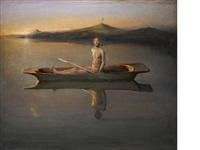 man in a boat by odd nerdrum