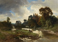 landscape with a stream and fishers by joseph quinaux