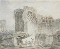 lavandières dans le temple de vénus au forum by hubert robert