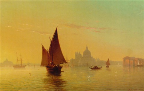 the entrance to the grand canal venice by eugenio cecchini prichard