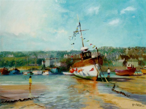 st ives harbour at lowtide by john ambrose