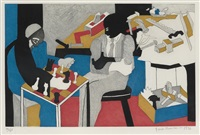 two builders playing chess (from the builders suite) by jacob lawrence