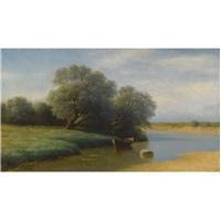 river landscape by mikhail konstantinovich klodt von jurgensburg