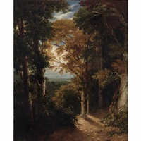 a view of a grove from lord northwick's villa at harrow by william linton