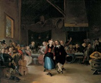 a wedding dance in a tavern by gerrit lundens