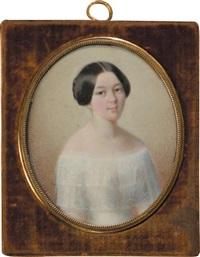 portrait de jeune femme à la robe blanche by leon brzezinski
