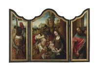 a triptych: the adoration of the magi by master of the antwerp adoration