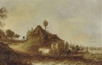 a ferry carrying a horse-drawn coach across a river by maerten fransz van der hulst