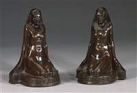 a pair of bronze clad figural bookends by m. peinlich